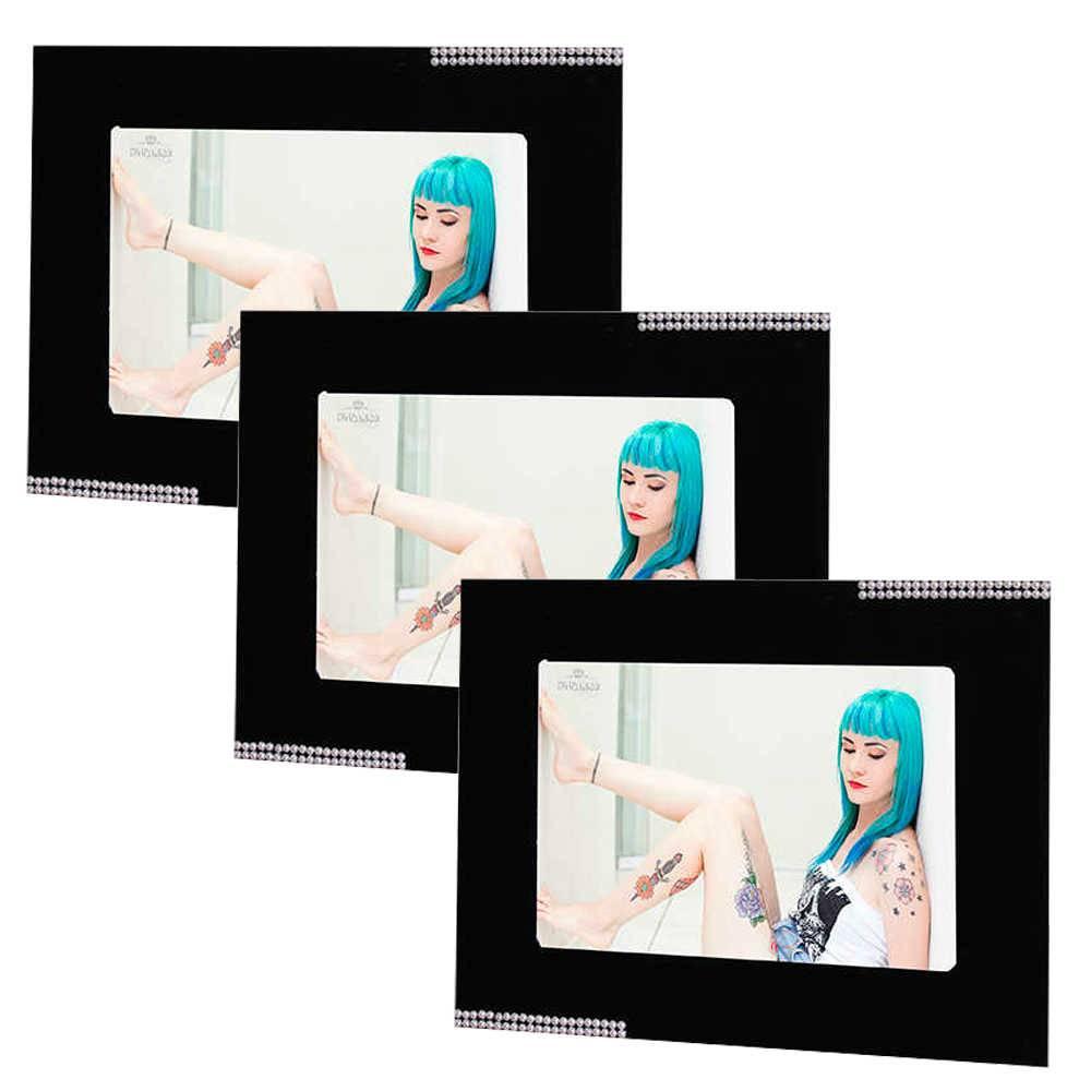 Conjunto 3 Porta-Retratos Pretos - 10x15 cm - em MDF com Detalhe de Pérolas - 23x18 cm