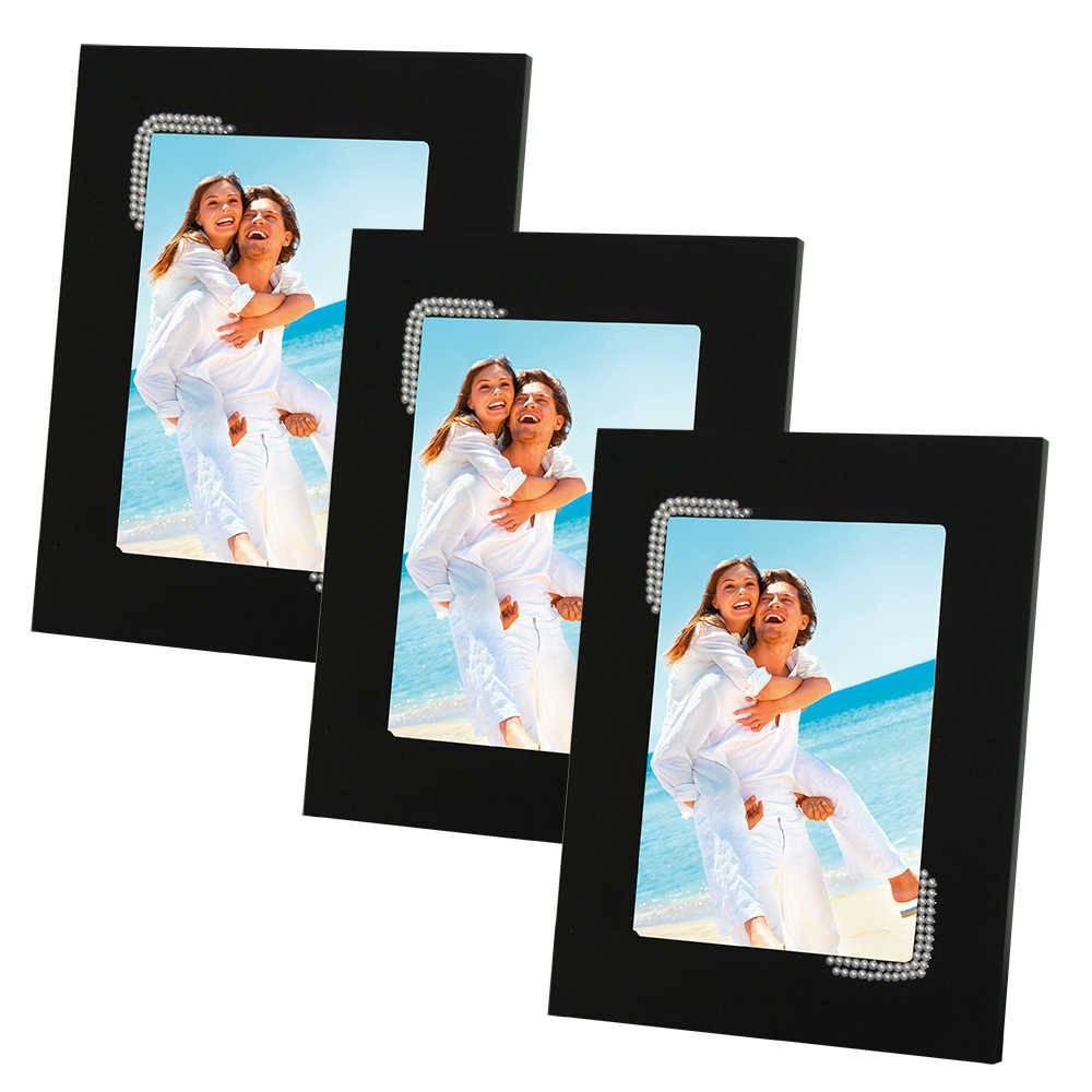 Conjunto 3 Porta-Retratos Pretos - 10x15 cm - em MDF com Pérolas - 23x18 cm