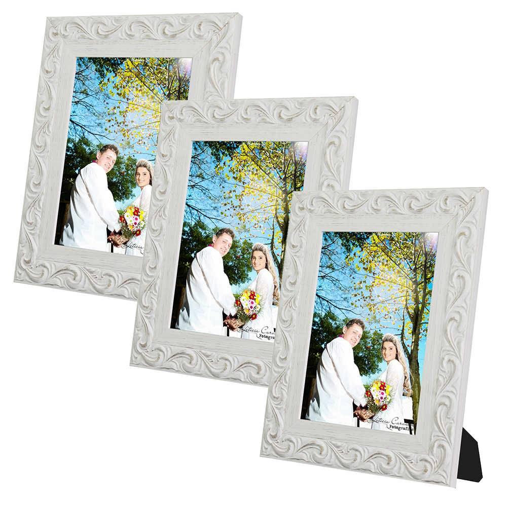 Conjunto 3 Porta-Retratos Provence - 10x15 cm - Brancos em Madeira - 23x18 cm