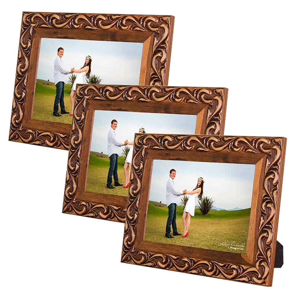 Conjunto 3 Porta-Retratos Provence - 10x15 cm - Marrom em Madeira - 23x18 cm