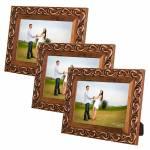 Conjunto 3 Porta-Retratos Provence 10x15 cm Marrom - Madeira