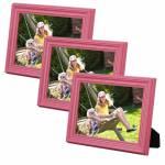 Conjunto 3 Porta-Retratos Rosa 10x15 cm em Madeira Laqueada