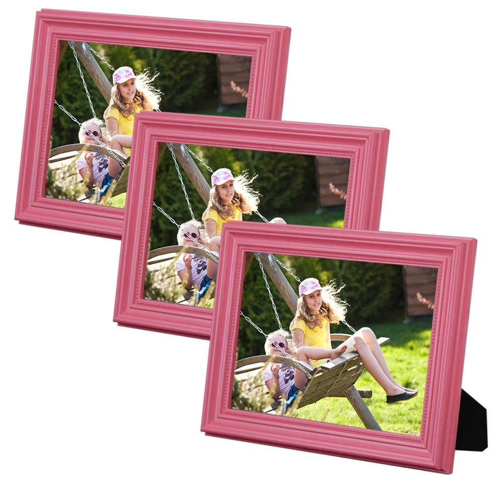 Conjunto 3 Porta-Retratos Rosa - 10x15 cm - em Madeira Laqueada - 18x13 cm