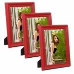 Conjunto 3 Porta-Retratos Vermelhos 10x15 Madeira Laqueada