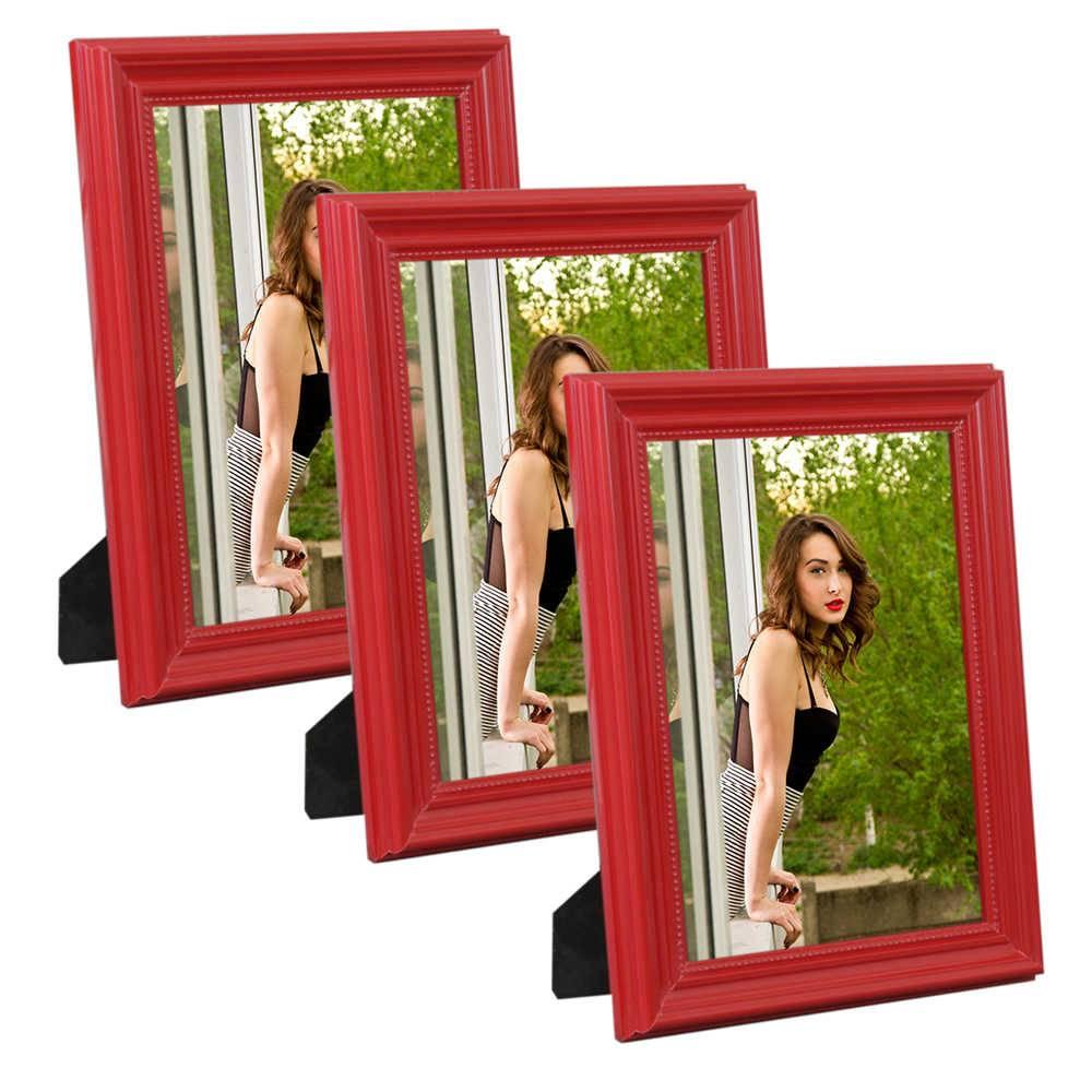 Conjunto 3 Porta-Retratos Vermelhos - 10x15 cm - em Madeira Laqueada - 18x13 cm
