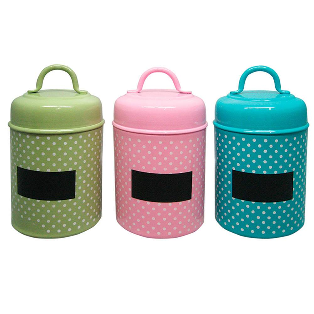 Conjunto 3 Potes Coloridos Poás com Alça em Metal - Urban - 14x10 cm