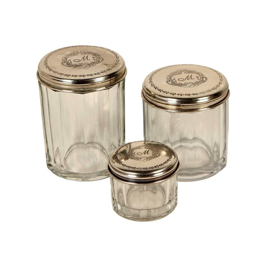 Conjunto 3 Potes Decorativos Bella em Vidro com Tampa em Metal - 9x7 cm