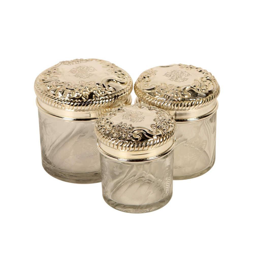 Conjunto 3 Potes Decorativos Milla em Vidro com Tampa em Metal - 11x10 cm