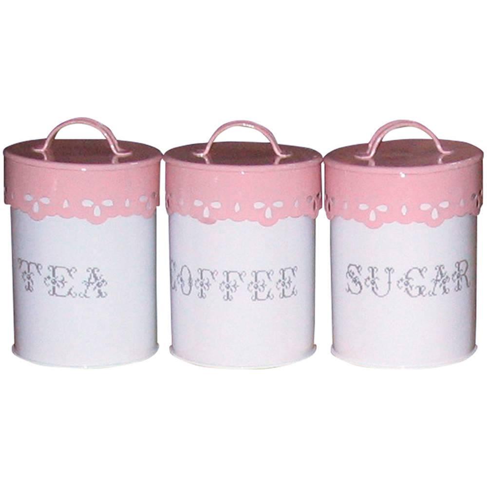 Conjunto 3 Potes Delicate Lace Cover Rosa em Metal - Urban - 23,5x10,5 cm