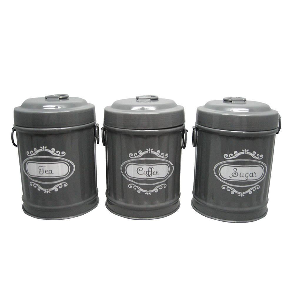 Conjunto 3 Potes Garbage Bin Shape Cinza em Metal - Urban - 13,5x10 cm