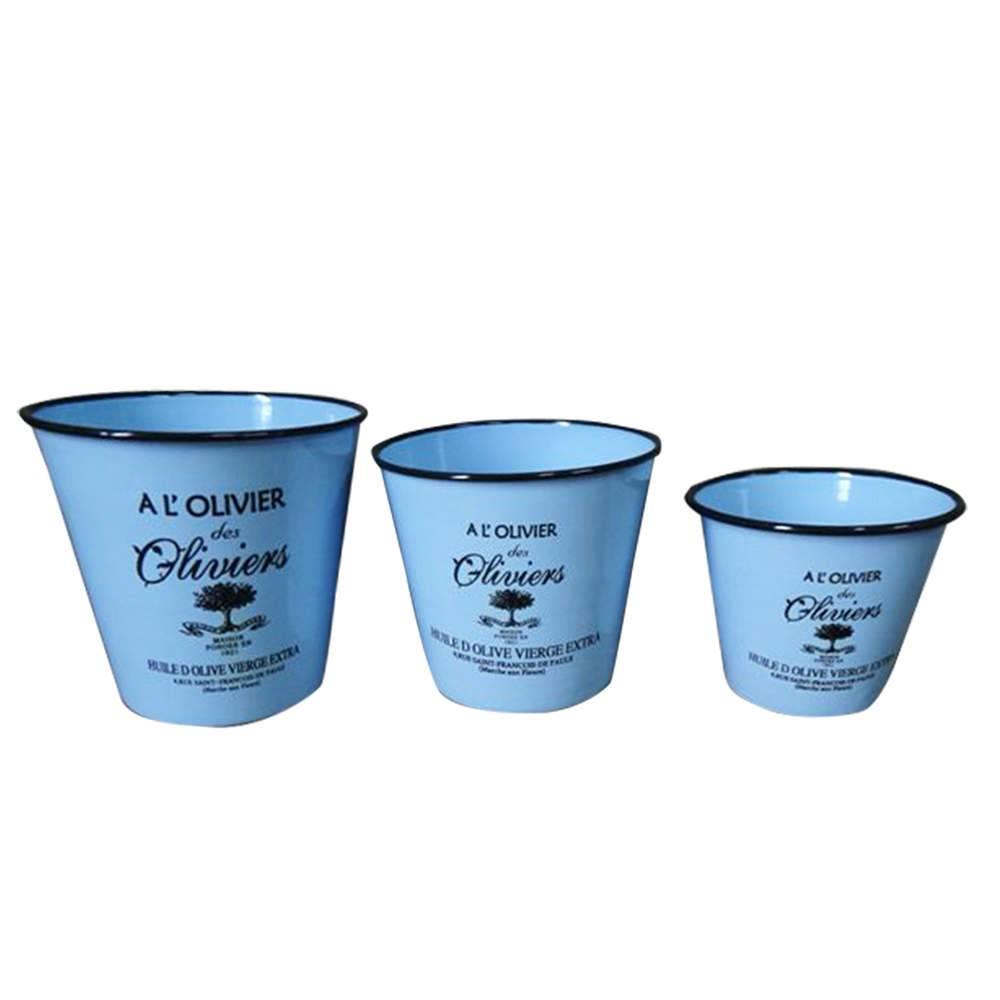 Conjunto 3 Potes sem Tampa Olivier Azul em Metal Esmaltado - Urban - 18x8 cm