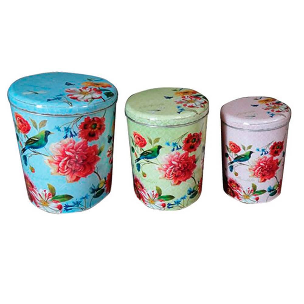 Conjunto 3 Potes Sweet Flowers Redondos em Metal - Urban - 24x20 cm