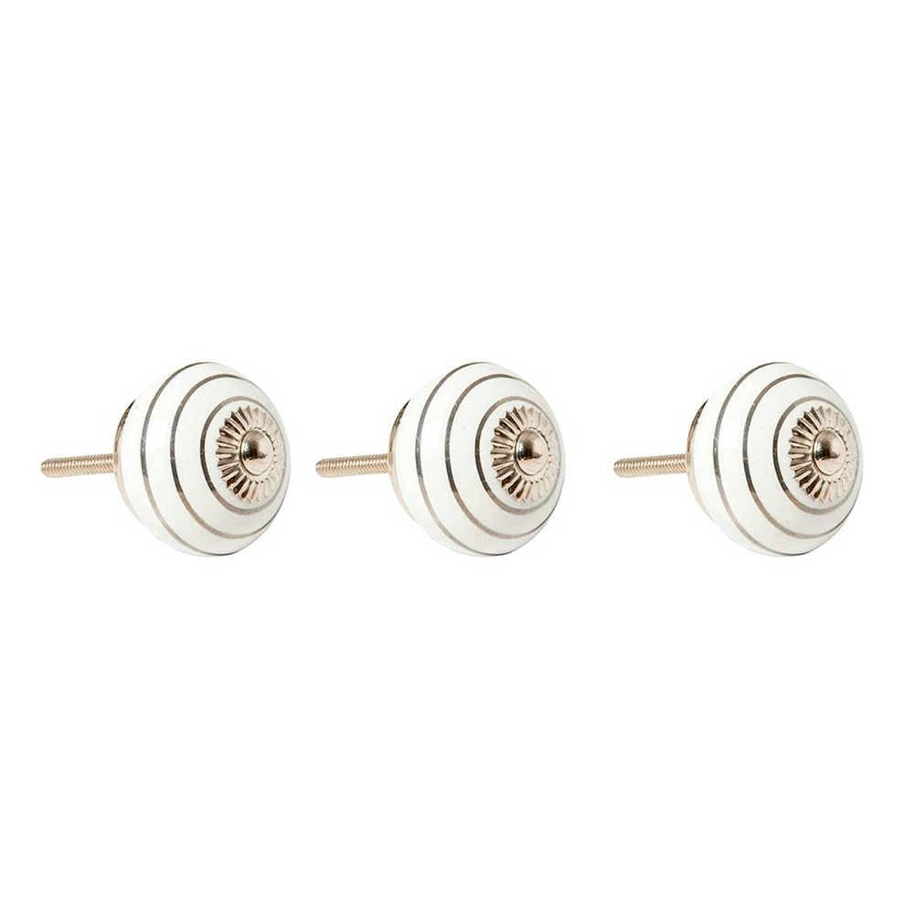 Conjunto 3 Puxadores Listrados Branco e Prata em Cerâmica - 7x4 cm