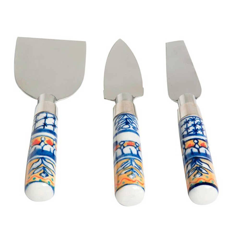 Conjunto 3 Talheres para Queijo em Metal com Cabo em Cerâmica Pintado à Mão - 15x4 cm