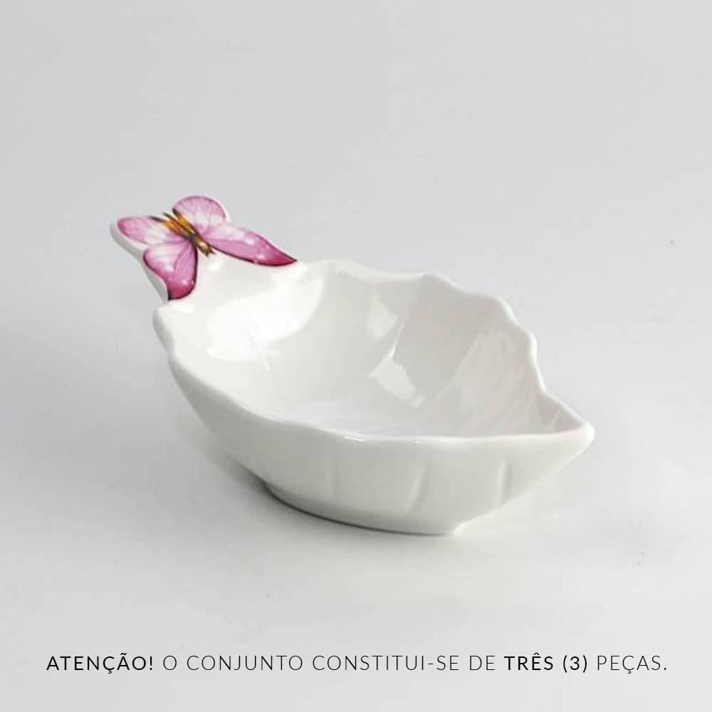Conjunto 3 Tigelas Bowls Folha Borboleta em Porcelana Pequenas - Wolff - 12,5 cm