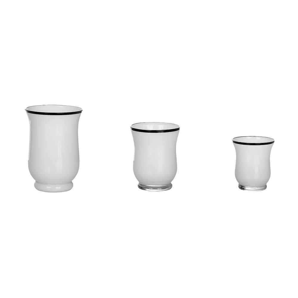 Conjunto 3 Vasos Brancos com Borda Preta em Vidro - Urban