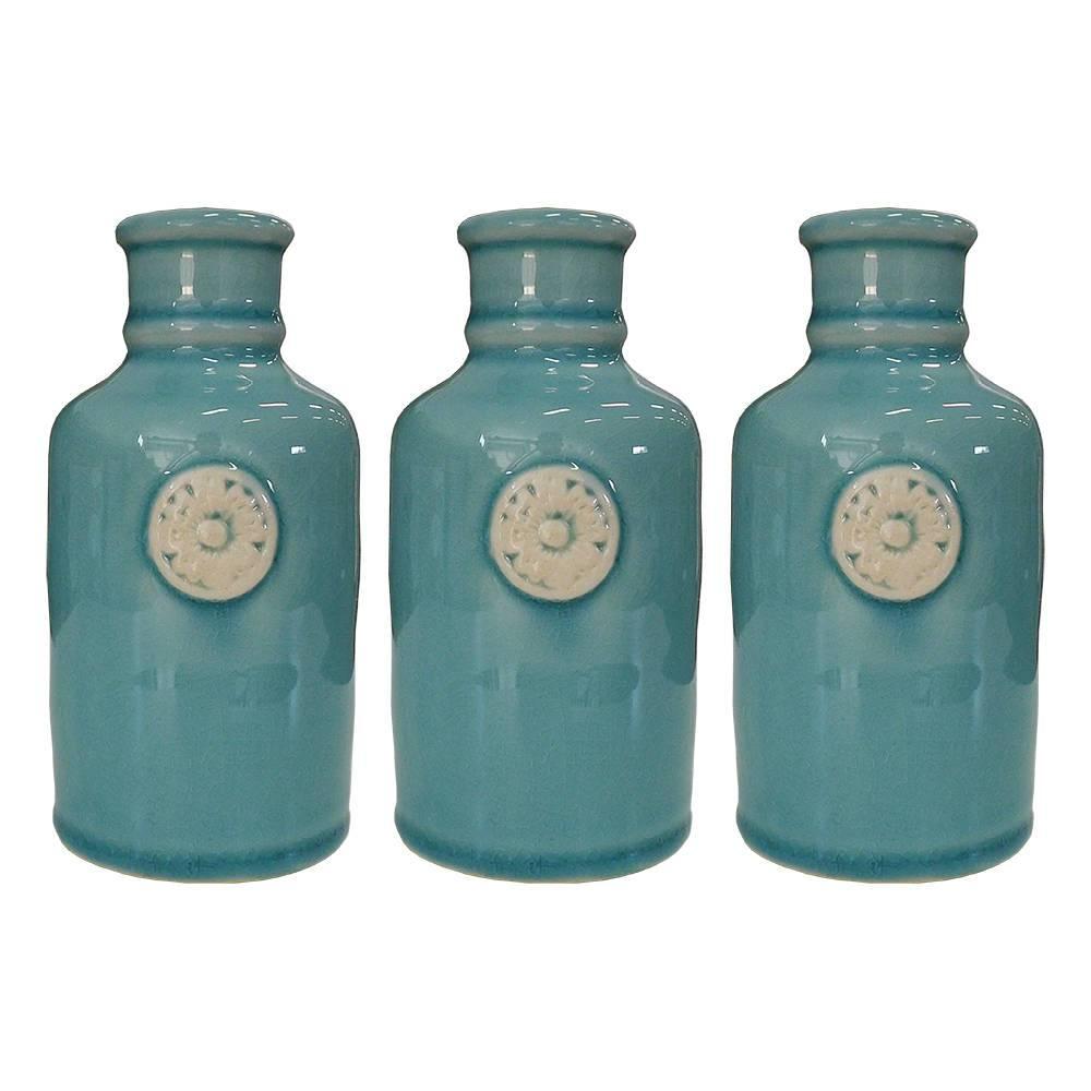 Conjunto 3 Vasos Decorativos Macau Verde em Cerâmica - 13x6,5 cm