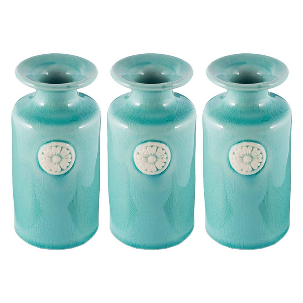 Conjunto 3 Vasos Lassa Verde Pequeno em Cerâmica - 12x6,5 cm
