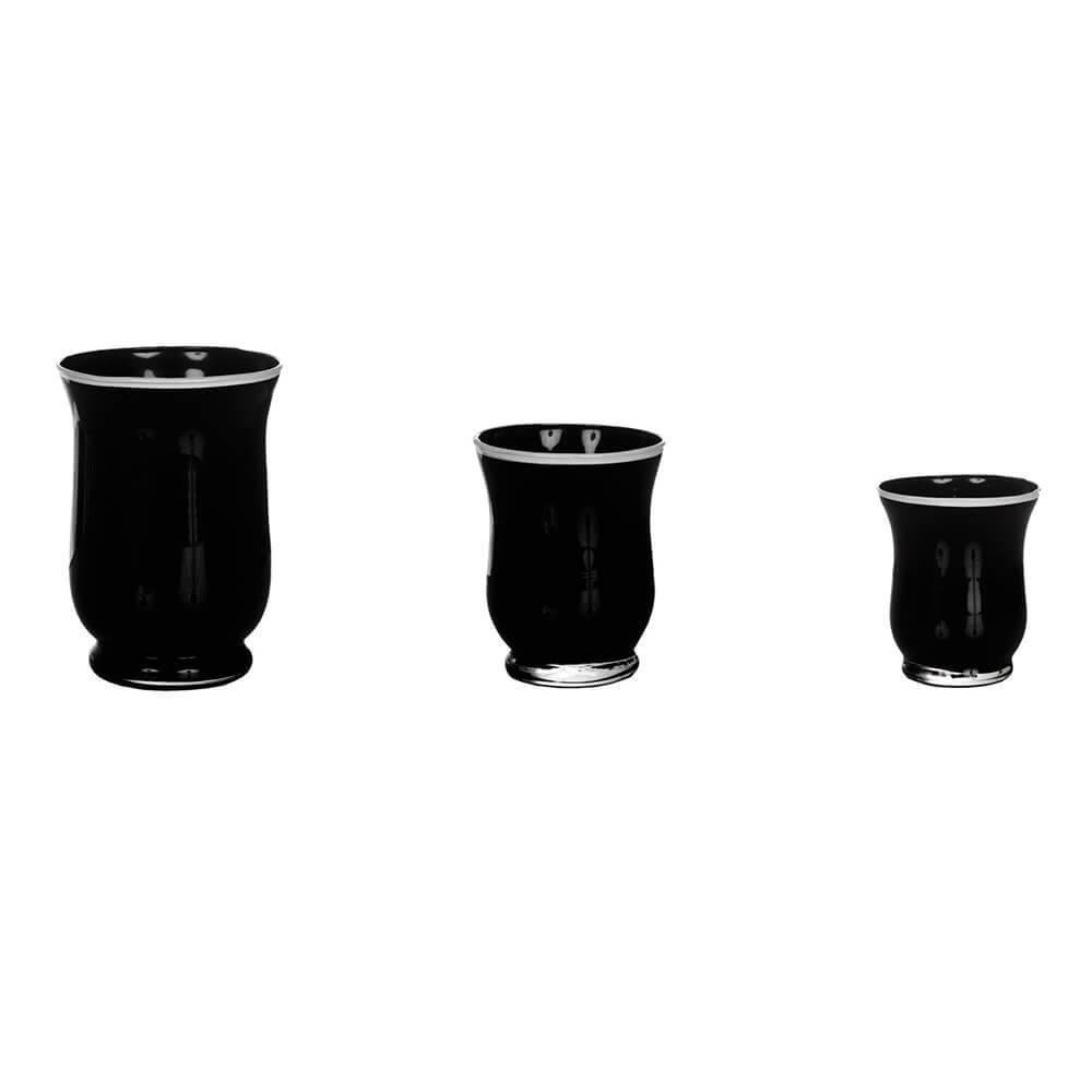 Conjunto 3 Vasos Pretos com Borda Branca em Vidro - Urban