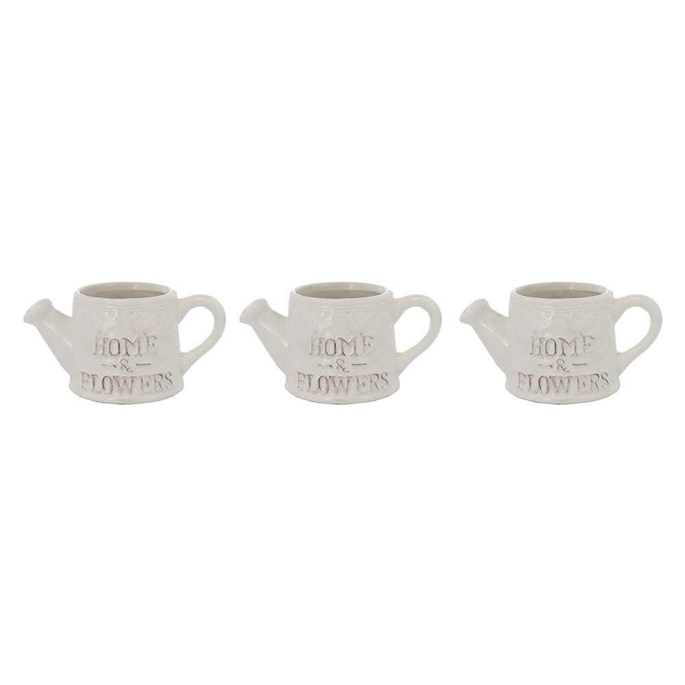 Conjunto 3 Vasos Strenz Branco em Cerâmica - 9x7 cm