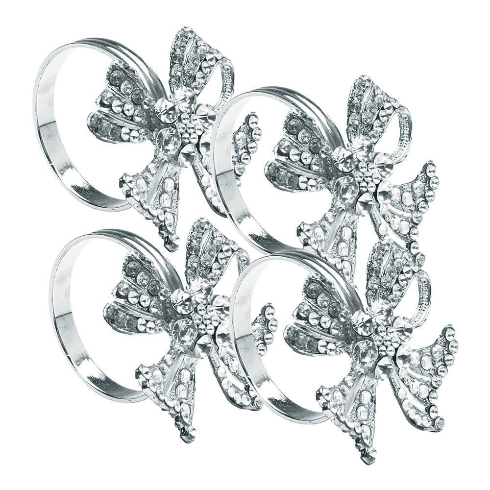 Conjunto 4 Anéis Porta Guardanapo Flor em Prata c/ Pedrarias - Delhi Wolff