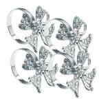 Conjunto 4 Anéis Porta Guardanapo Flor em Prata