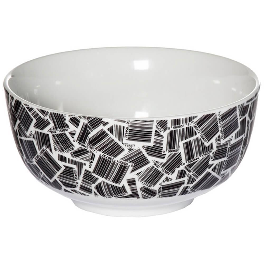 Conjunto 4 Bowls Barcode Preto e Branco em Porcelana - Urban - 13x6 cm