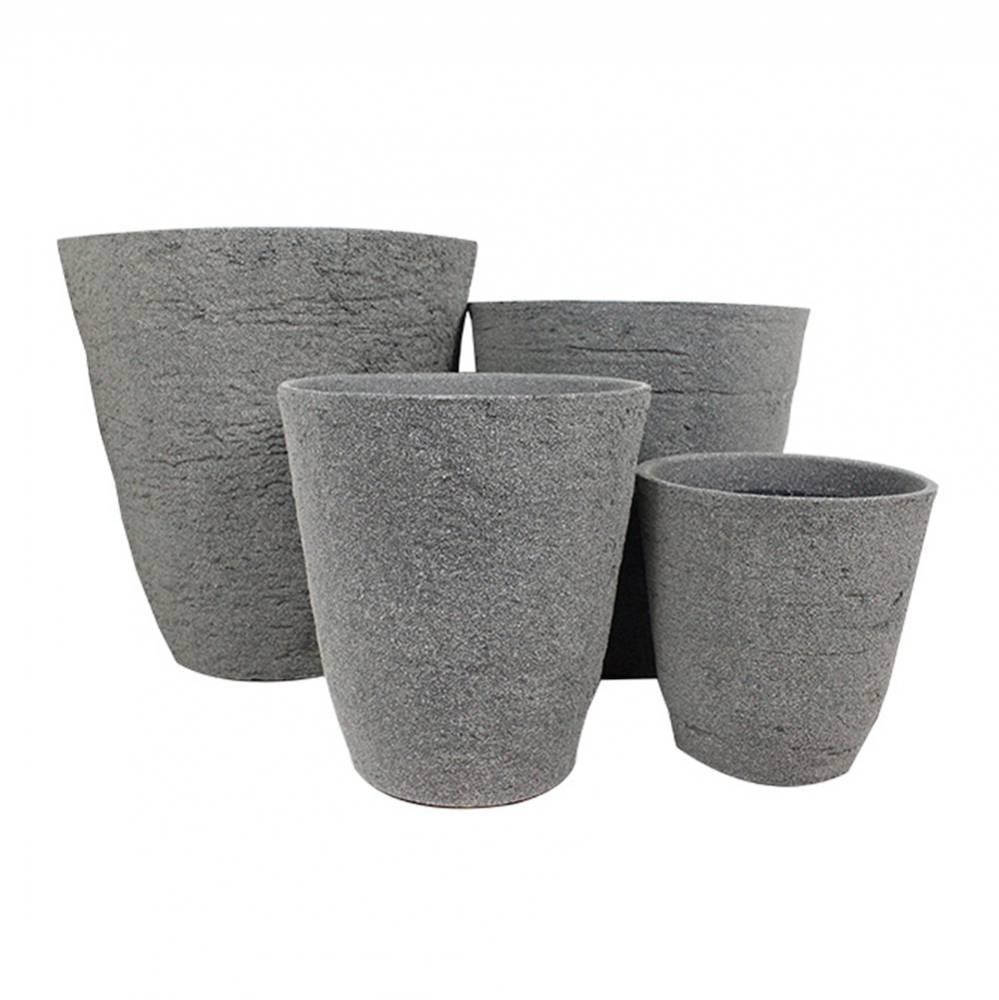 Conjunto 4 cachepôs em Plástico com Textura de Concreto Greenway - 52x50 cm