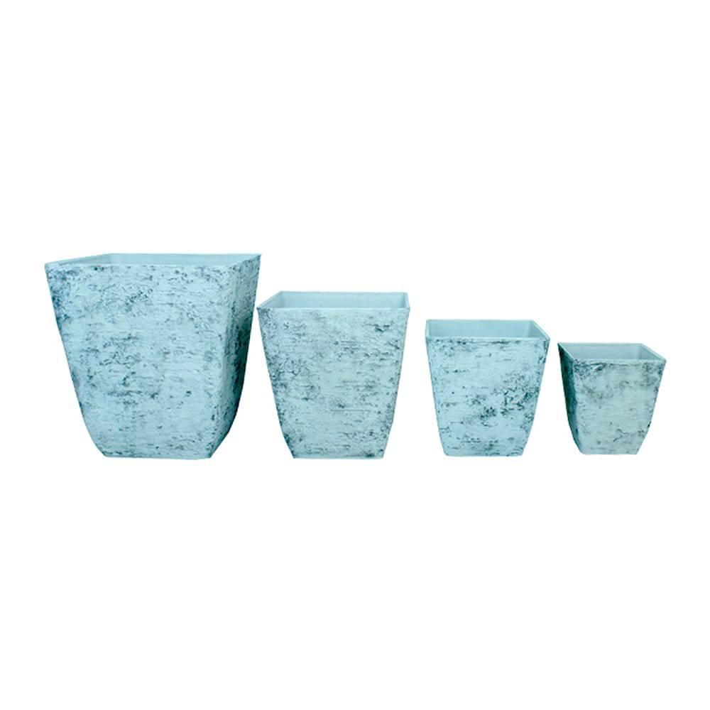 Conjunto 4 Cachepôs Quadrados com Textura de Concreto Greenway - 52x50 cm