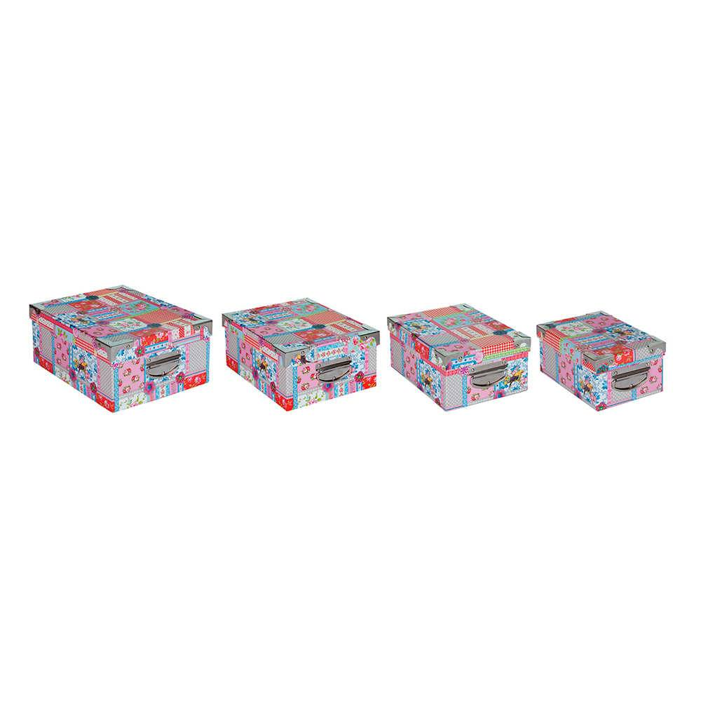 Conjunto 4 Caixas Organizadoras Patchwork com Tampa Móvel - Urban - 28x22 cm