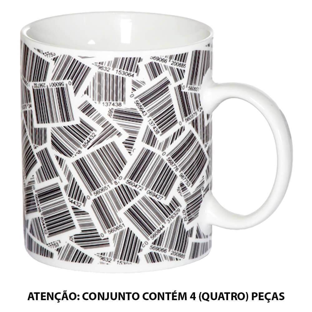 Conjunto 4 Canecas Código de Barras Preto e Branco em Porcelana - 290 ml - Urban - 9x8 cm