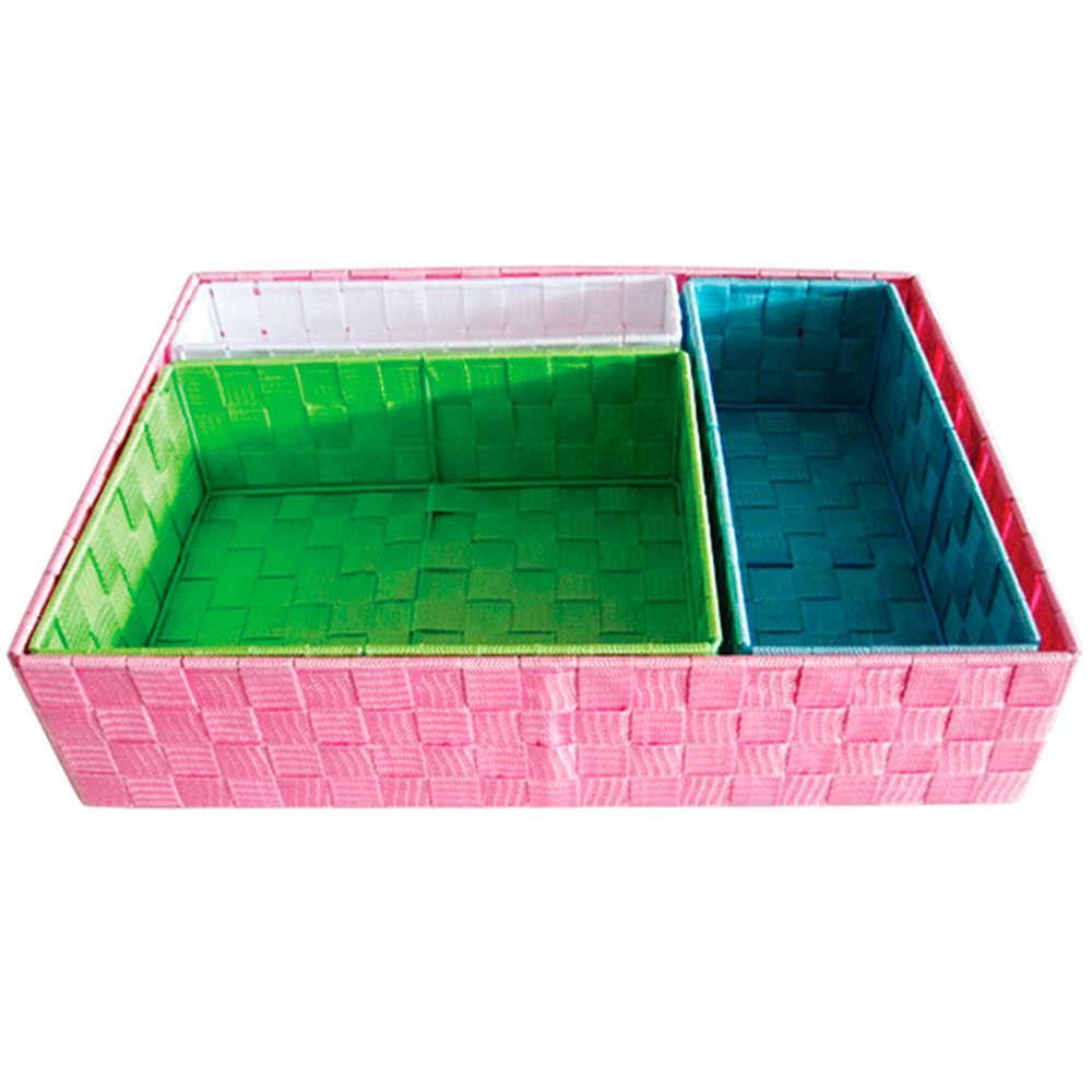 Conjunto 4 Cestos Little Squares Coloridos em Tecido - Urban - 48x34,5 cm