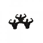 Conjunto 4 Clips Homens Músculo Preto - 22x7 cm