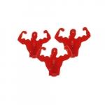 Conjunto 4 Clips Homens Músculo Vermelho - 22x7 cm