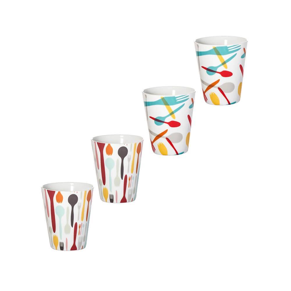 Conjunto 4 Copos Cutlery Colorido em Porcelana - 290 ml - Urban - 10x8 cm