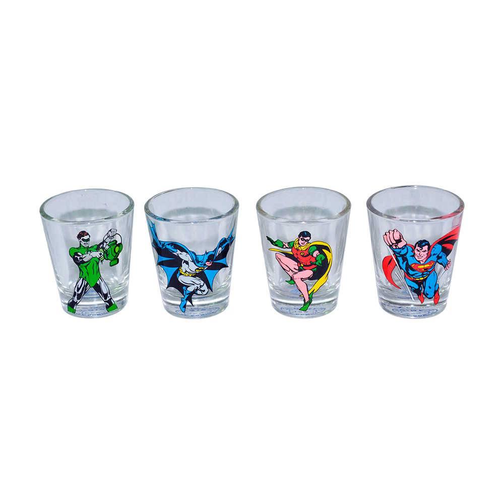 Conjunto 4 Copos Dose DC Comics The Good Boys - 50 ml - em Vidro - Urban - 5x3,5 cm