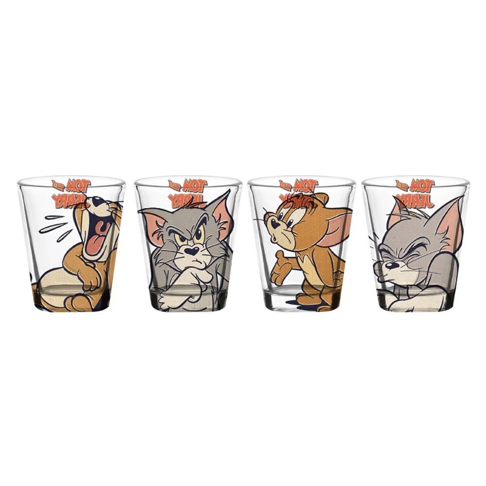 Conjunto 4 Copos Dose Hanna Barbera Tom And Jerry Angry And Happy em Vidro - 50 ml - Urban - 6x5 cm