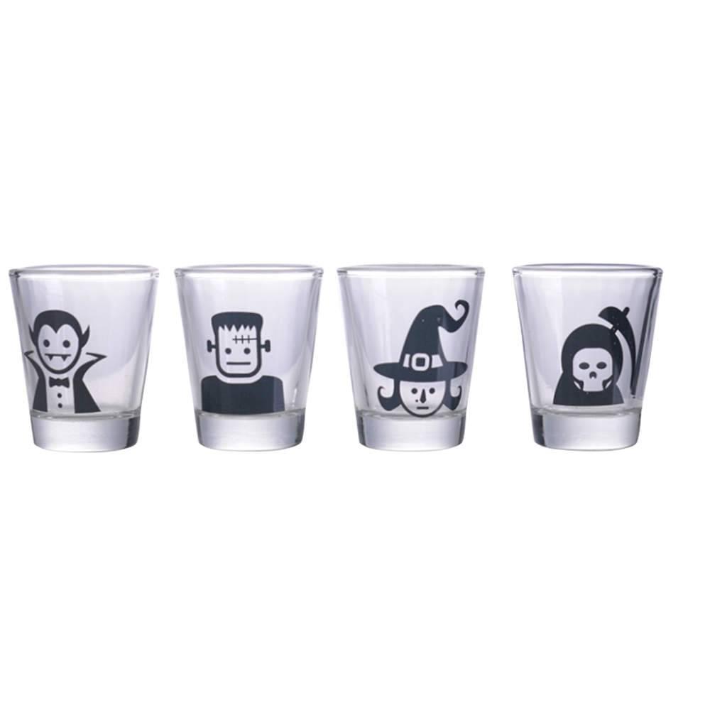 Conjunto 4 Copos Dose Monsters Preto em Vidro - 50 ml - Urban - 6x5 cm