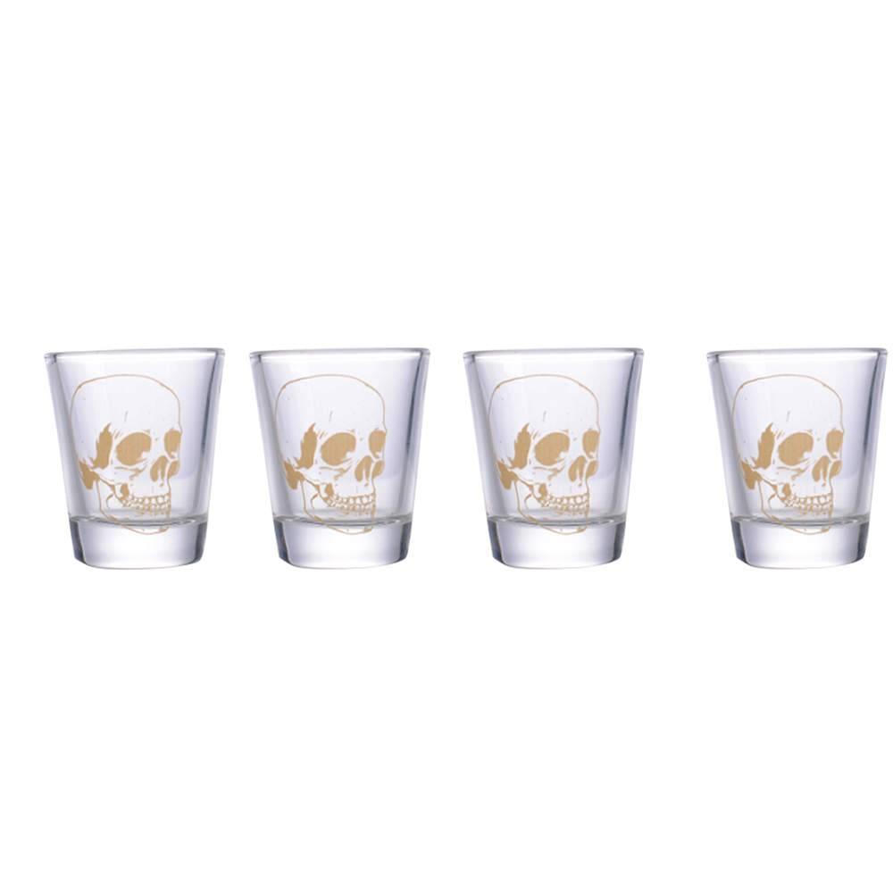 Conjunto 4 Copos Dose Skulls Dourado em Vidro - 50 ml - Urban - 6x5 cm