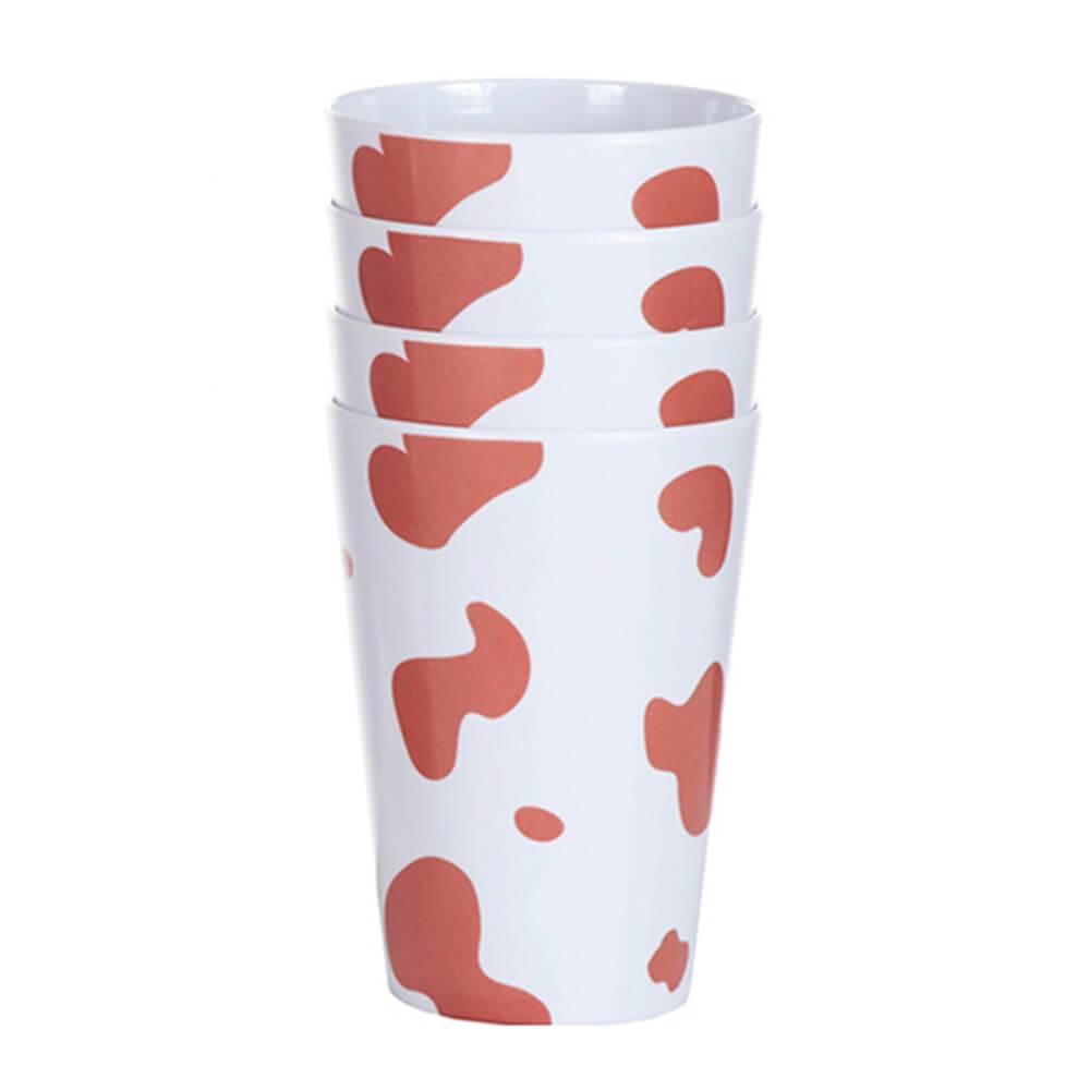 Conjunto 4 Copos Vaquinha Branco e Marrom em Melamina - Urban - 12x9,5 cm