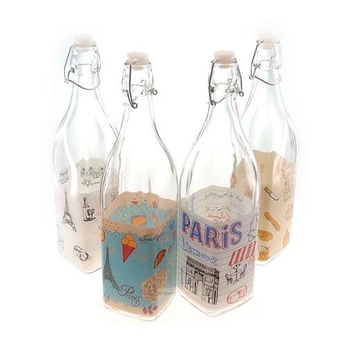 Conjunto 4 Garrafas Paris Vintage - 30x7 cm
