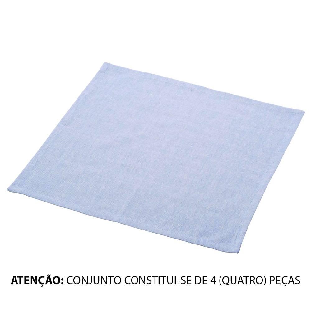 Conjunto 4 Guardanapos Azuis em Algodão - Lyor Classic - 40x40 cm