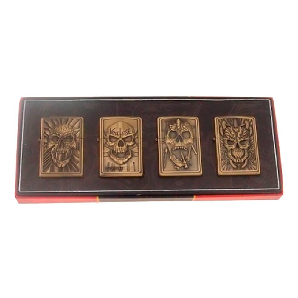 Conjunto 4 Isqueiros Caveiras Bronze Envelhecido em Metal - 23x9 cm