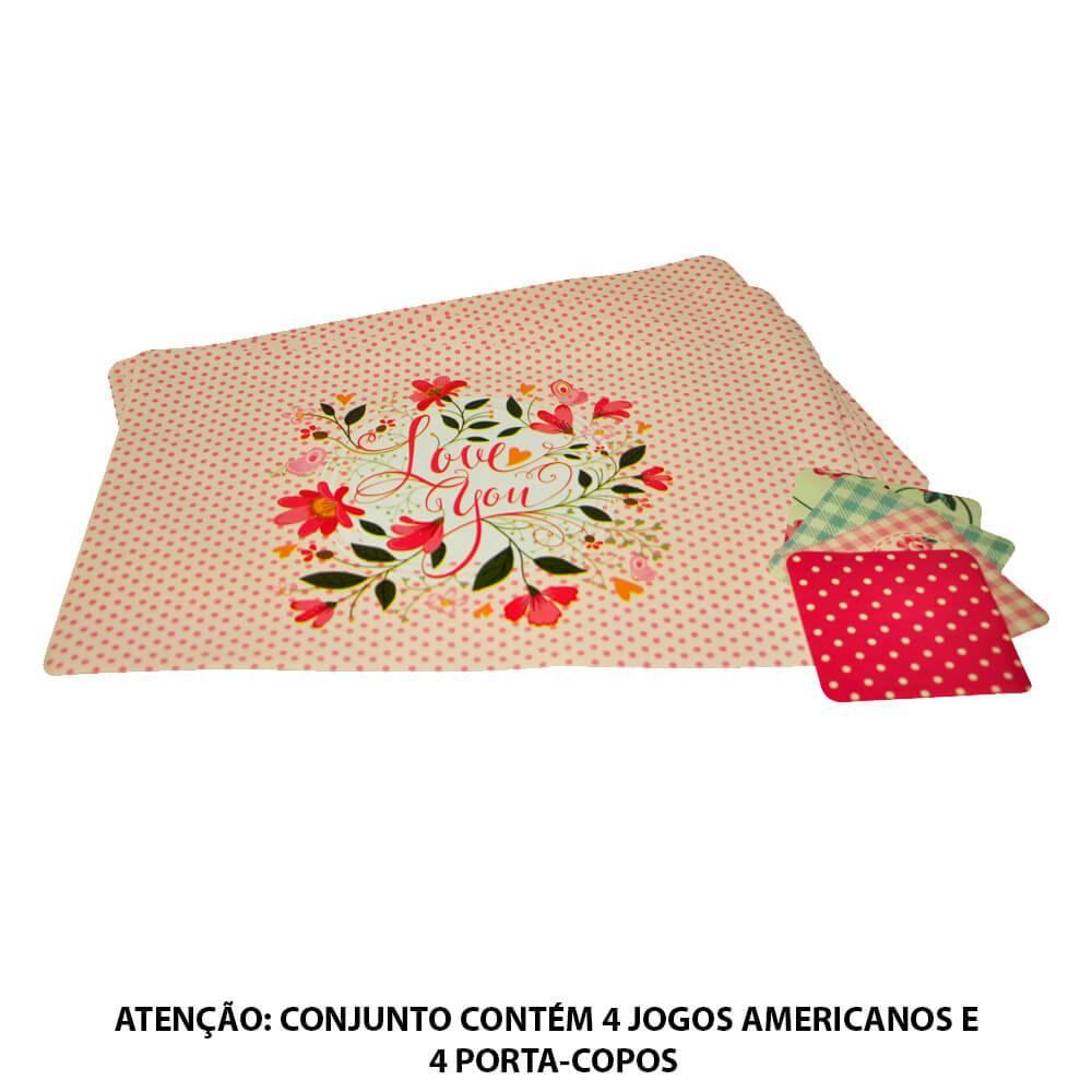 Conjunto 4 Jogos Americanos e 4 Porta-Copos Romance Love You Rosa em PVC - Urban - 44x28,5 cm