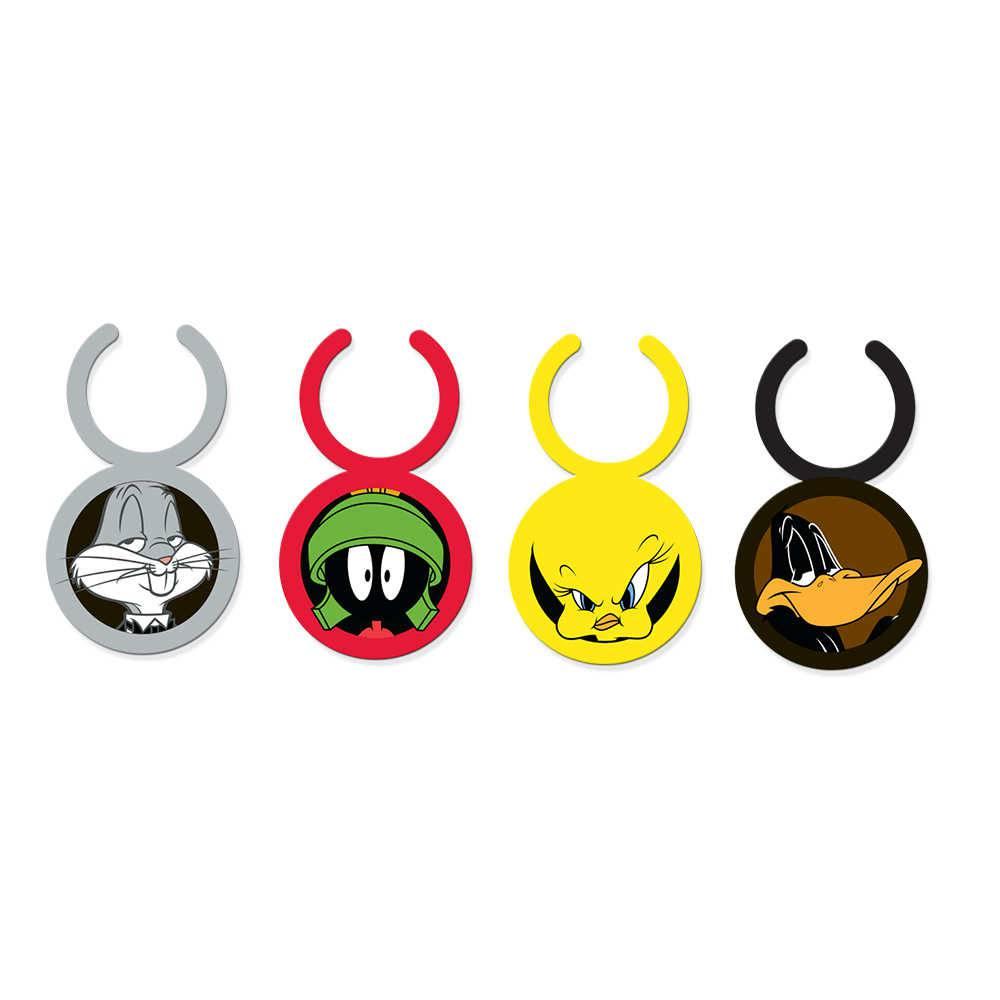 Conjunto 4 Marcadores de Taças Looney Tunes All Characters Coloridos em Silicone - 3x2,5 cm