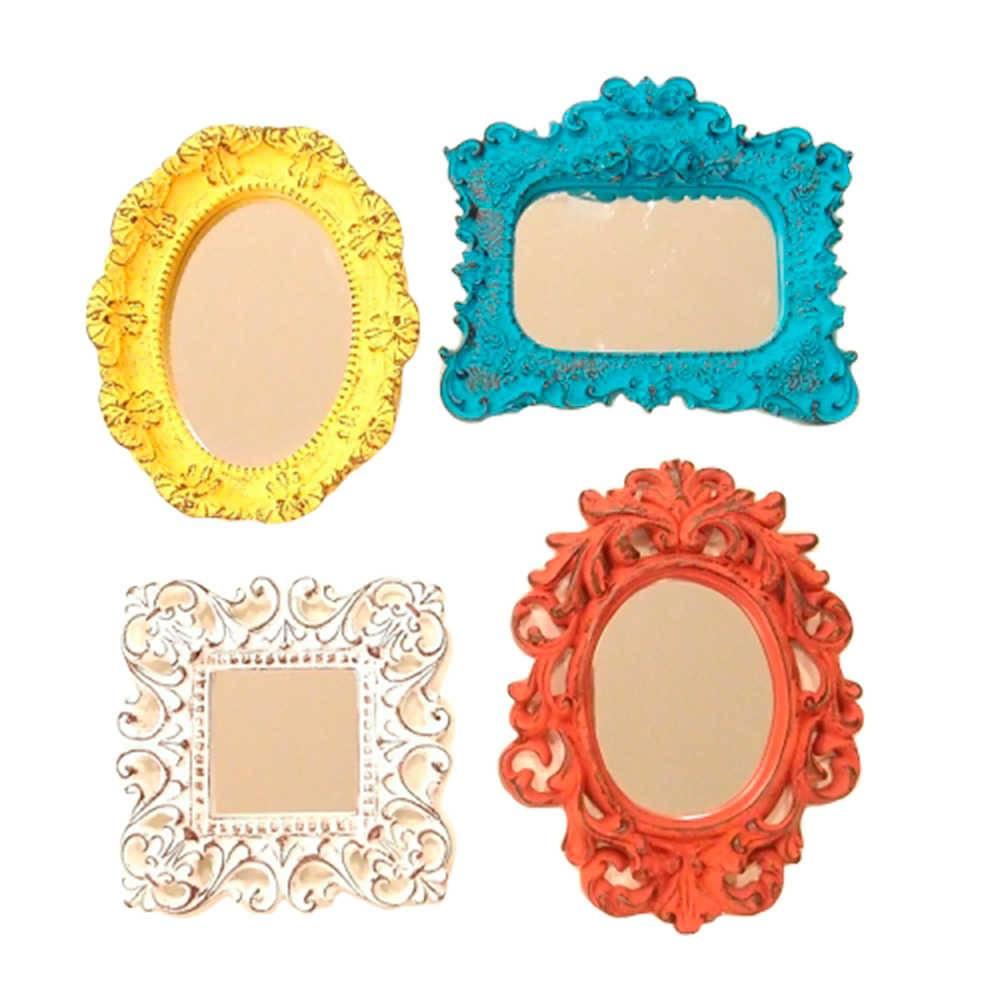 Conjunto 4 Mini Espelhos Coloridos com Moldura em Resina - Grande - 22x17 cm