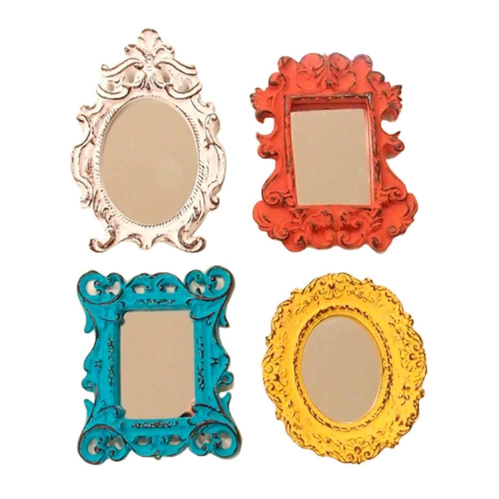 Conjunto 4 Mini Espelhos Coloridos com Moldura em Resina - Médio - 16x11 cm