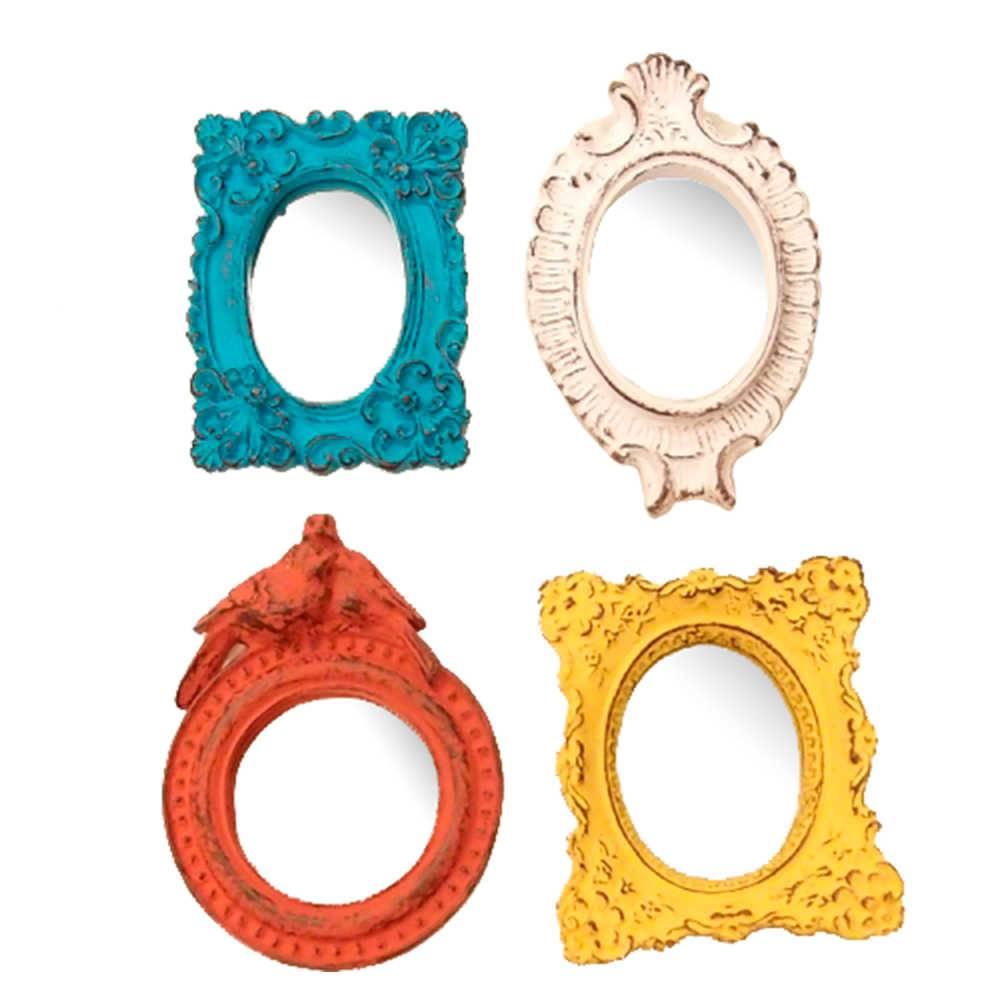 Conjunto 4 Mini Espelhos Coloridos com Moldura em Resina - Pequenos - 14x10 cm