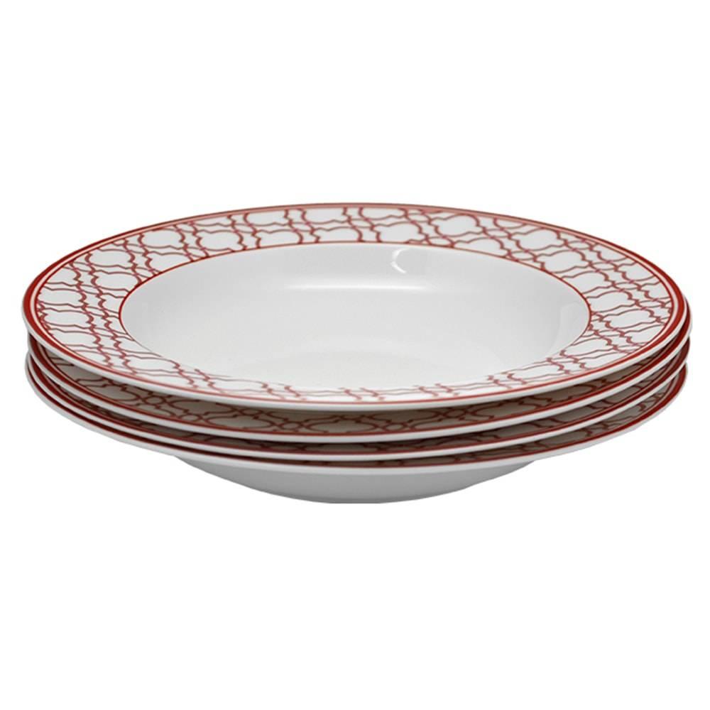 Conjunto 4 Pratos Fundos Oriental Manor Vermelho de Porcelana - Finecasa - 22x3 cm