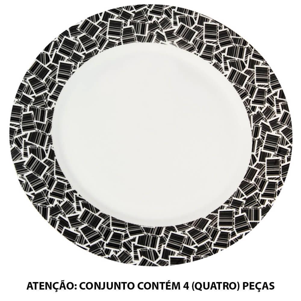 Conjunto 4 Pratos de Jantar Barcode Preto e Branco em Porcelana - Urban - 27 cm